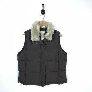L.L. Bean Petite Large Brown Vest Goose Down Fur